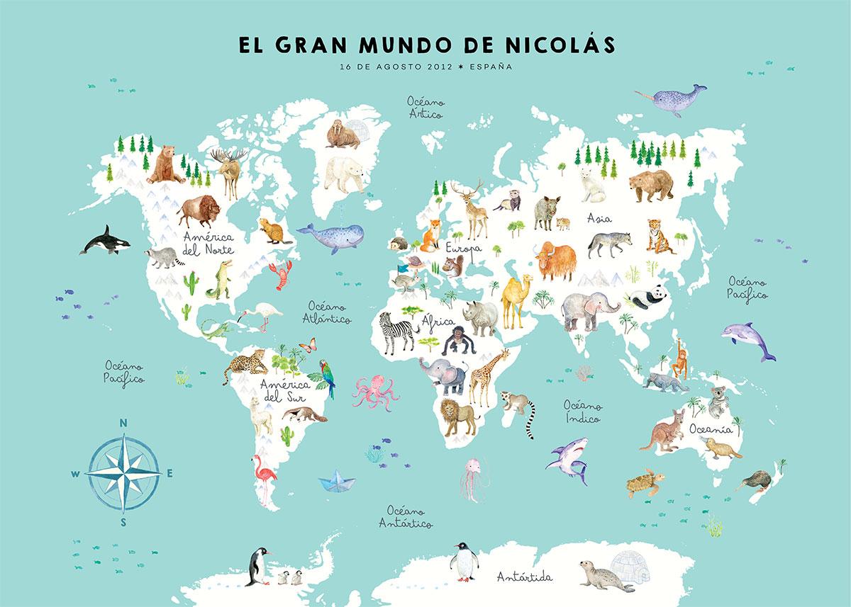 Mapamundi de animales del mundo